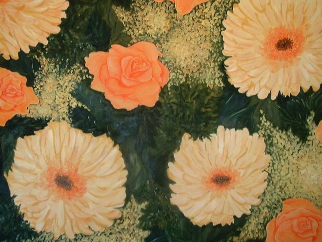 Lachsfarbener-Blumenstrauß